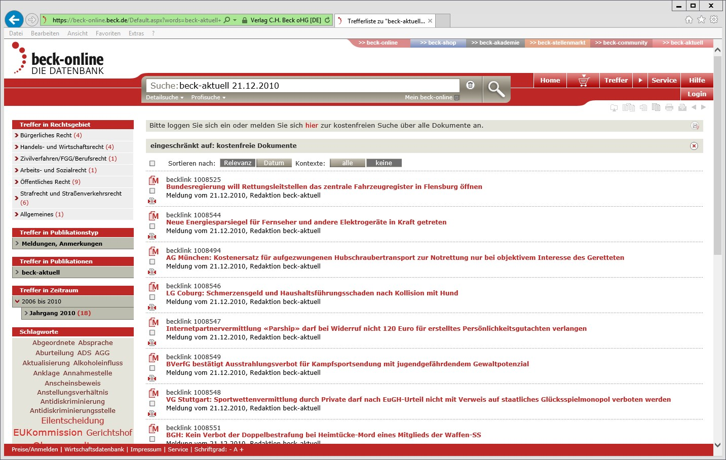 Screenshot beck-online-Trefferliste Datum