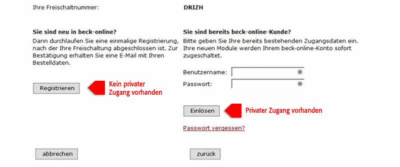 Screenshot DRiZApp Registrierung